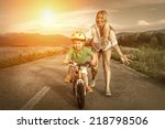 happiness mother and son on the ... | Shutterstock . vector #218798506