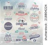 christmas set   labels  emblems ...   Shutterstock .eps vector #218804224