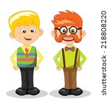 cartoon vector hipster... | Shutterstock .eps vector #218808220