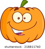 funny halloween pumpkin mascot... | Shutterstock .eps vector #218811760