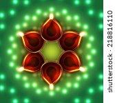 vector diwali diya background | Shutterstock .eps vector #218816110