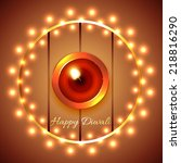 vector happy diwali diya... | Shutterstock .eps vector #218816290