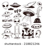 set of alien and ufo icon  hand ... | Shutterstock .eps vector #218821246