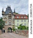 historic gatehouse in meissen ... | Shutterstock . vector #218831734
