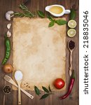 old recipe note background... | Shutterstock . vector #218835046