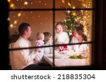 young big family celebrating... | Shutterstock . vector #218835304