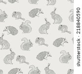 seamless pattern with hedgehog  ... | Shutterstock .eps vector #218840590