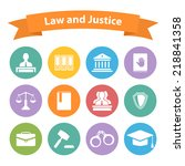 set of flat law and justice... | Shutterstock .eps vector #218841358