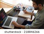 handsome hipster modern man... | Shutterstock . vector #218846266