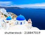 panoramic view of the santorini ... | Shutterstock . vector #218847019