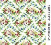 wild flowers seamless pattern... | Shutterstock . vector #218861053