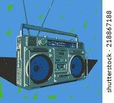 ghetto blaster boombox vector... | Shutterstock .eps vector #218867188