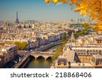 aerial view of paris  france | Shutterstock . vector #218868406