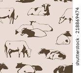 herd of cows seamless pattern... | Shutterstock .eps vector #218869474
