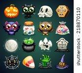halloween cartoon icons set. in ... | Shutterstock .eps vector #218870110