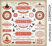 christmas decoration vector... | Shutterstock .eps vector #218890324