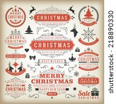 christmas decoration vector... | Shutterstock .eps vector #218890330