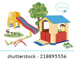 playground. seesaw  slider and... | Shutterstock . vector #218895556