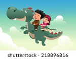 a vector illustration of happy... | Shutterstock .eps vector #218896816