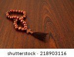 wooden rosary beads on old... | Shutterstock . vector #218903116