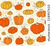 orange pattern with pumpkins | Shutterstock .eps vector #218907610