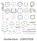 big set of floral graphic... | Shutterstock .eps vector #218919328