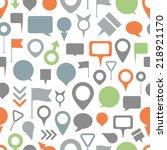 navigation pins seamless pattern | Shutterstock .eps vector #218921170