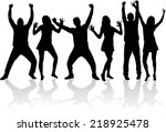 dancing silhouettes | Shutterstock .eps vector #218925478