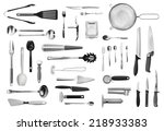 Stock photo realistic kitchen equipment and cutlery collection isolated on white 218933383