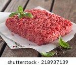 minced meat on butcher paper...   Shutterstock . vector #218937139