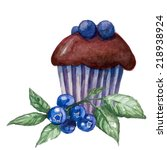 Watercolor Blueberry Muffins....