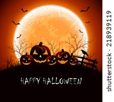 halloween night background with ... | Shutterstock .eps vector #218939119
