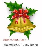 decoration  gold bells  merry... | Shutterstock .eps vector #218940670