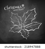 chalkboard drawing of christmas ... | Shutterstock .eps vector #218947888