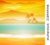 background with sea and palm... | Shutterstock .eps vector #218949448