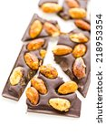 Small photo of Gourmet almighty almond chocolate bar on a white background.