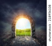 mysterious entrance to new life ... | Shutterstock . vector #218956108