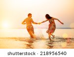 summer party fun holiday on... | Shutterstock . vector #218956540