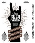 hipster rock festival poster...   Shutterstock .eps vector #218958880