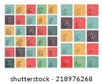 flat alphabet a z icons... | Shutterstock .eps vector #218976268