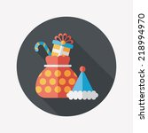 christmas gift flat icon with... | Shutterstock .eps vector #218994970