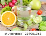 glass of water with vegetables... | Shutterstock . vector #219001363