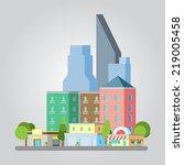 modern flat design cityscape... | Shutterstock .eps vector #219005458