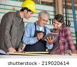 male and female carpenters... | Shutterstock . vector #219020614