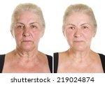 elderly woman's portrait... | Shutterstock . vector #219024874