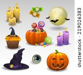 halloween set | Shutterstock .eps vector #219026383