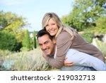 cheerful mature man giving... | Shutterstock . vector #219032713