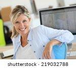 portrait of cheerful blond... | Shutterstock . vector #219032788