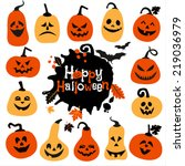 halloween icon set of cheerful... | Shutterstock .eps vector #219036979