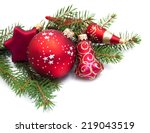 christmas pine and baubles on a ... | Shutterstock . vector #219043519